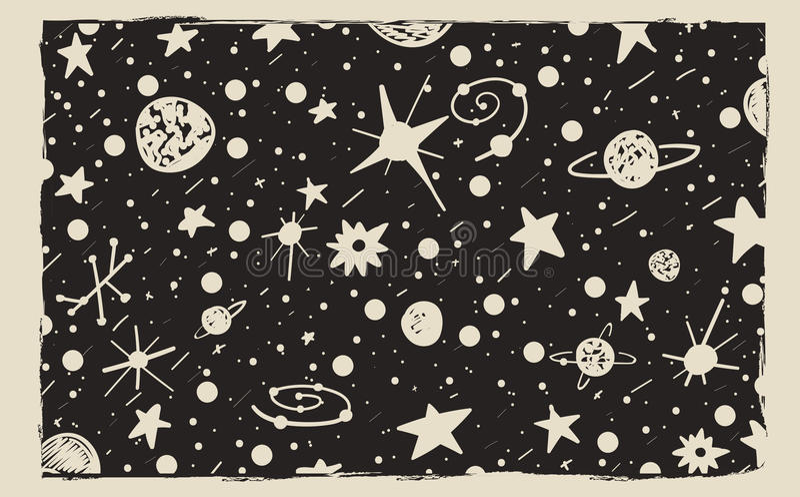 Hand gezeichneter Hintergrund des Kratzerart-nächtlichen Himmels Raum, Sterne und Planeten vektor abbildung
