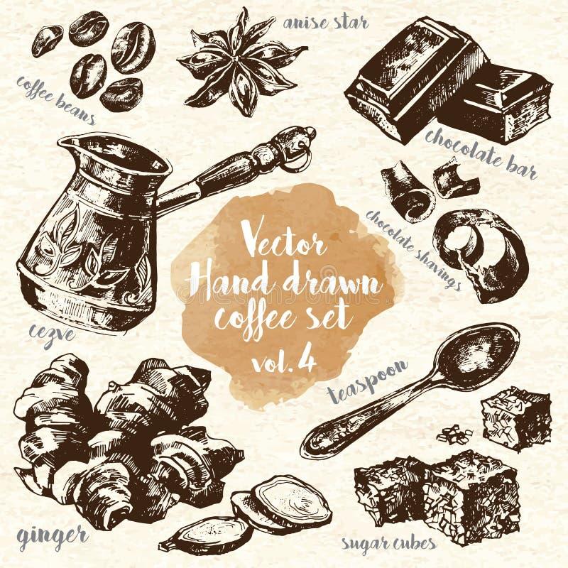 Hand gezeichneter Kaffee-Satz Vol. 4 vektor abbildung