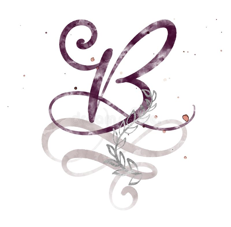 Hand gezeichneter Kalligraphiebuchstabe B Aquarell Skriptguß Lokalisierte Briefe geschrieben mit Tinte Handgeschriebene Bürstenar stock abbildung