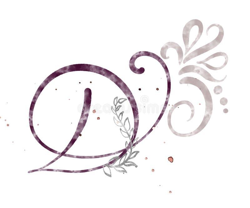 Hand gezeichneter Kalligraphiebuchstabe D Aquarell Skriptguß Lokalisierte Briefe geschrieben mit Tinte Handgeschriebene Bürstenar lizenzfreie abbildung
