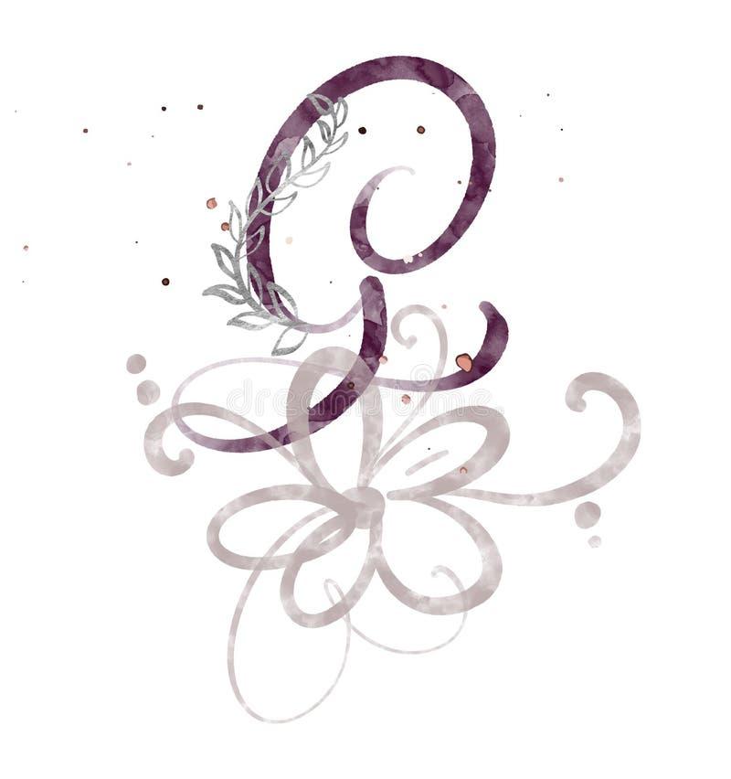 Hand gezeichneter Kalligraphiebuchstabe G Aquarell Skriptguß Lokalisierte Briefe geschrieben mit Tinte Handgeschriebene Bürstenar vektor abbildung