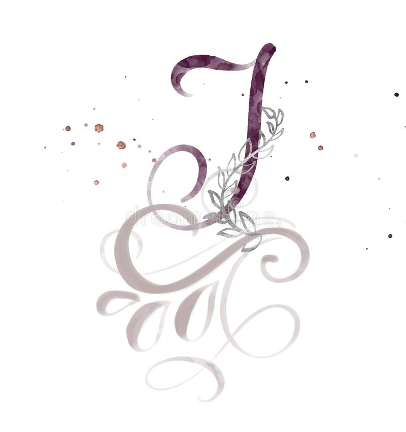 Hand gezeichneter Kalligraphiebuchstabe I Aquarell Skriptguß Lokalisierte Briefe geschrieben mit Tinte Handgeschriebene Bürstenar stock abbildung