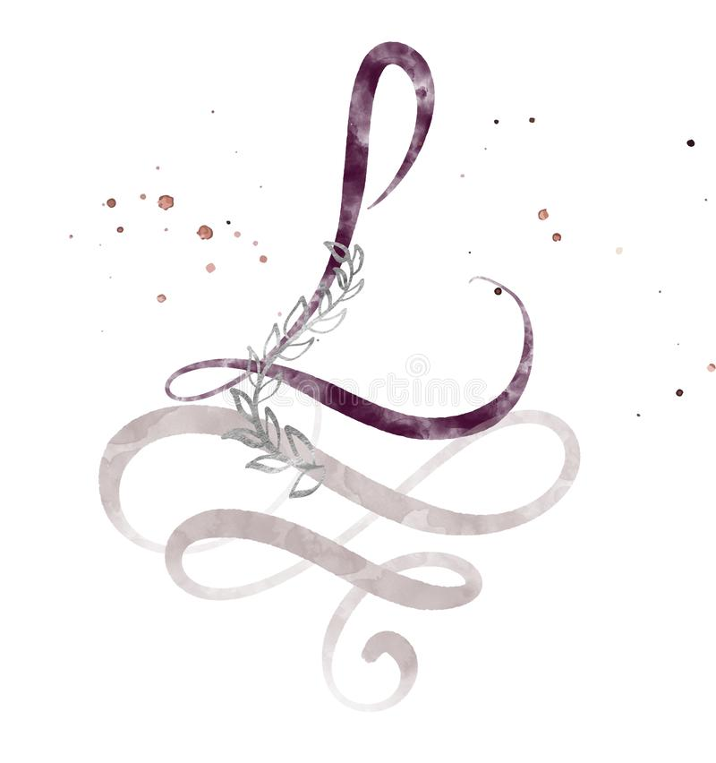 Hand gezeichneter Kalligraphiebuchstabe L Aquarell Skriptguß Lokalisierte Briefe geschrieben mit Tinte Handgeschriebene Bürstenar lizenzfreie abbildung