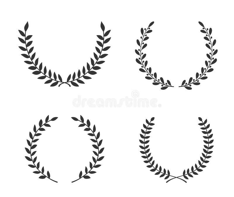 Hand gezeichneter Laurel Wreaths vektor abbildung