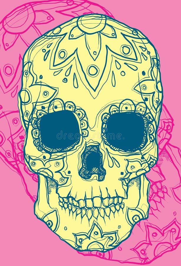Hand gezeichneter mexikanischer Schädel stock abbildung