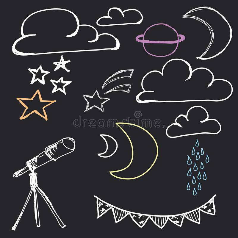 Hand gezeichneter nächtlicher Himmel vektor abbildung