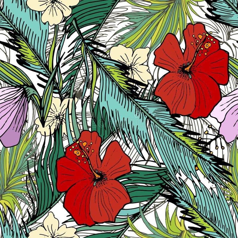 Hand gezeichneter nahtloser Hintergrund mit Palmblättern und Blumen stock abbildung