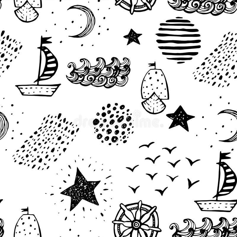 Hand gezeichneter nahtloser nautischhintergrund lizenzfreie abbildung