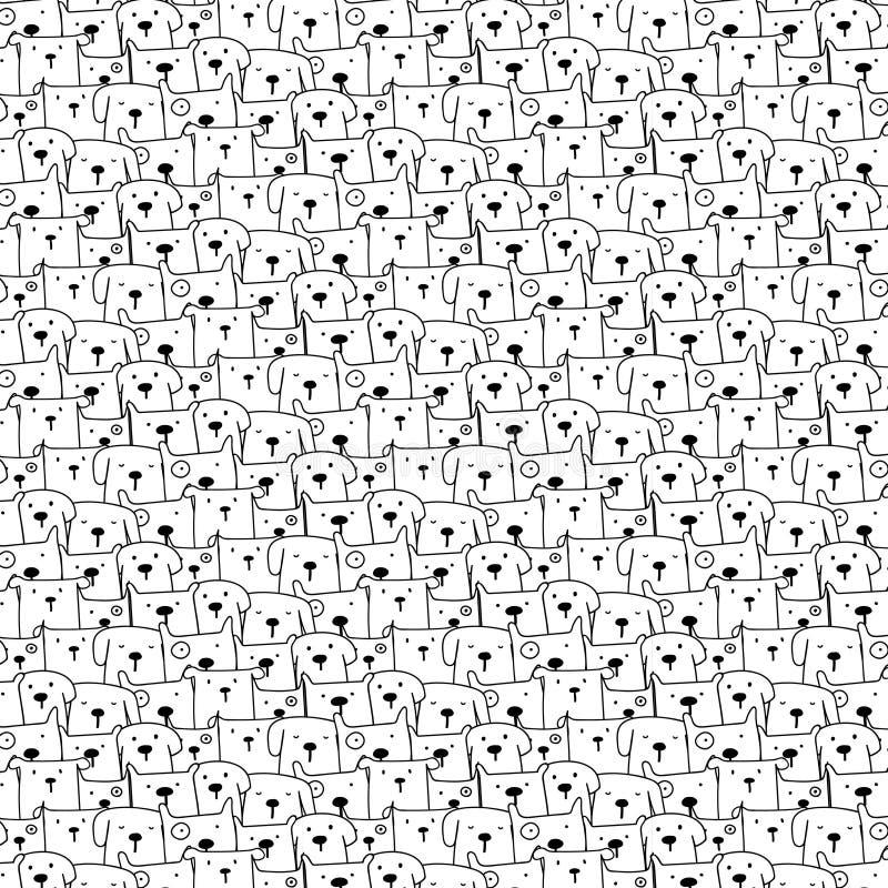 Hand gezeichneter netter Hundevektor-Muster-Hintergrund Gekritzel lustig lizenzfreie abbildung
