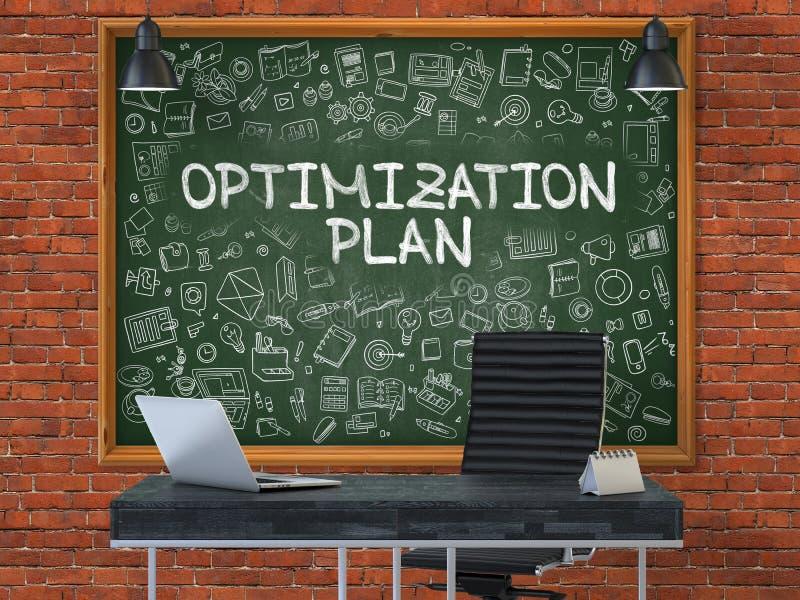 Hand gezeichneter Optimierungs-Plan auf Büro-Tafel 3d stock abbildung