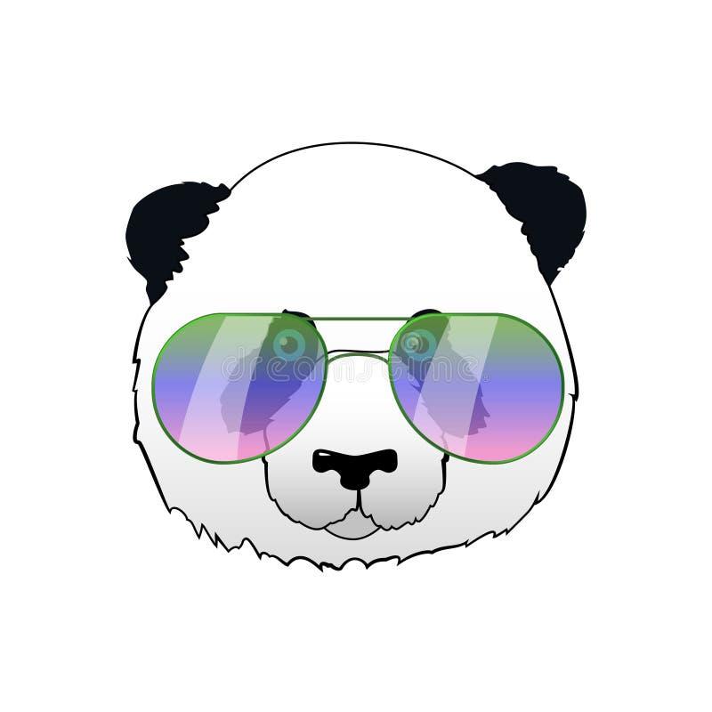 Hand gezeichneter Panda in den Sonnenbrillen Hippie-Pandabärnillustration Porträt mit Spiegelsonnenbrille lizenzfreie abbildung