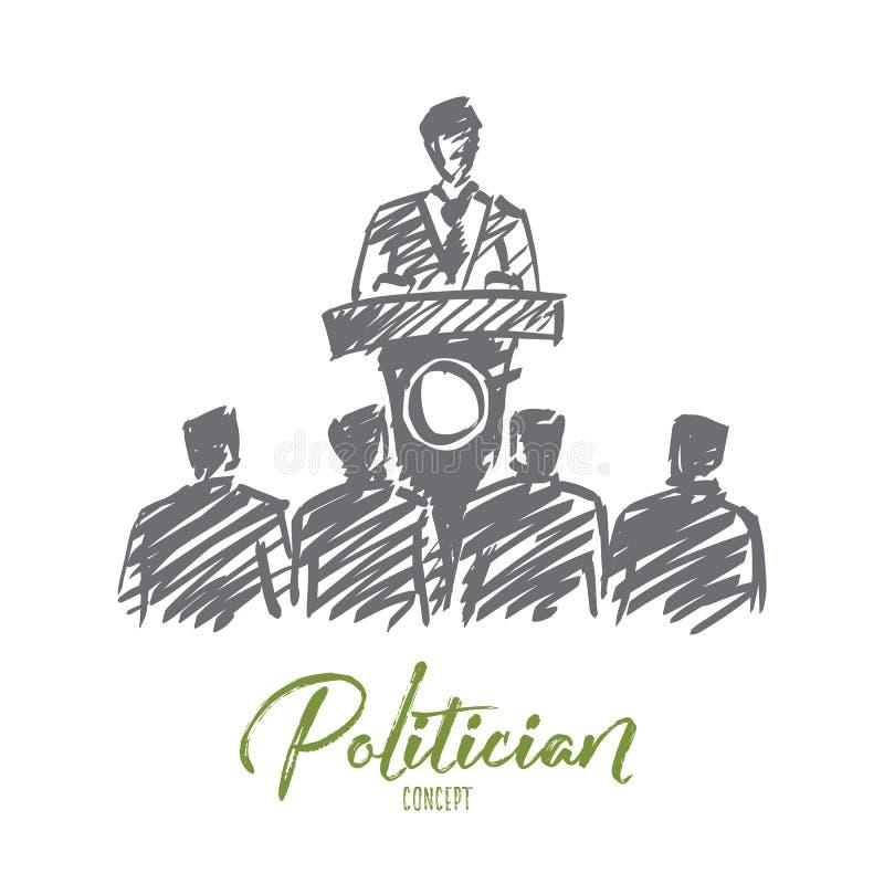 Hand gezeichneter Politiker, der von der Tribüne deklamiert lizenzfreie abbildung