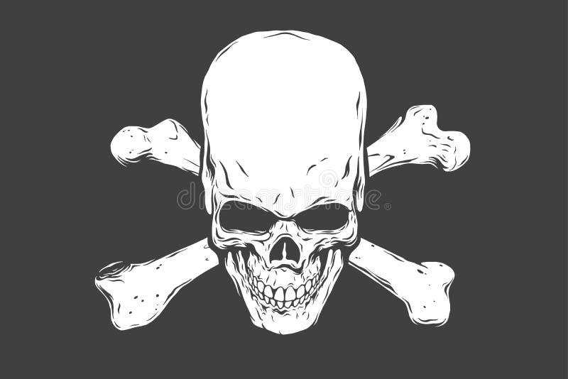 Hand gezeichneter realistischer menschlicher Schädel und Knochen Einfarbige Vektorillustration auf schwarzem Hintergrund lizenzfreie abbildung