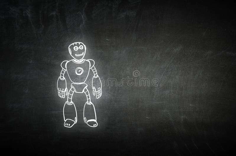 Hand gezeichneter Roboter stockbilder