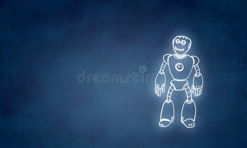 Hand gezeichneter Roboter lizenzfreie abbildung