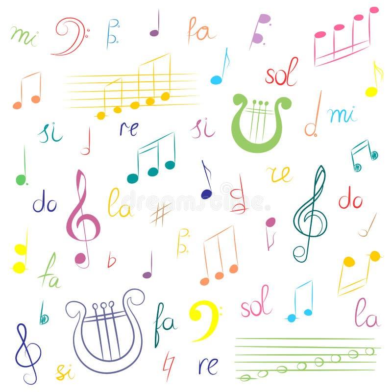 Hand gezeichneter Satz Musik-Symbole Bunter Gekritzel-Violinschlüssel, Bass Clef, Anmerkungen und Leier Laptop- und Blinkenleucht stock abbildung
