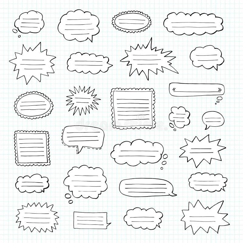 Hand gezeichneter Satz Spracheblasen Tetradzelle Notizbuch in einem Käfig lizenzfreies stockfoto