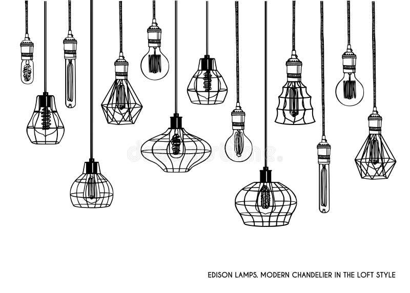 Hand gezeichneter Satz unterschiedliche geometrische Dachbodenlampen und Eisenlampenschirm stock abbildung