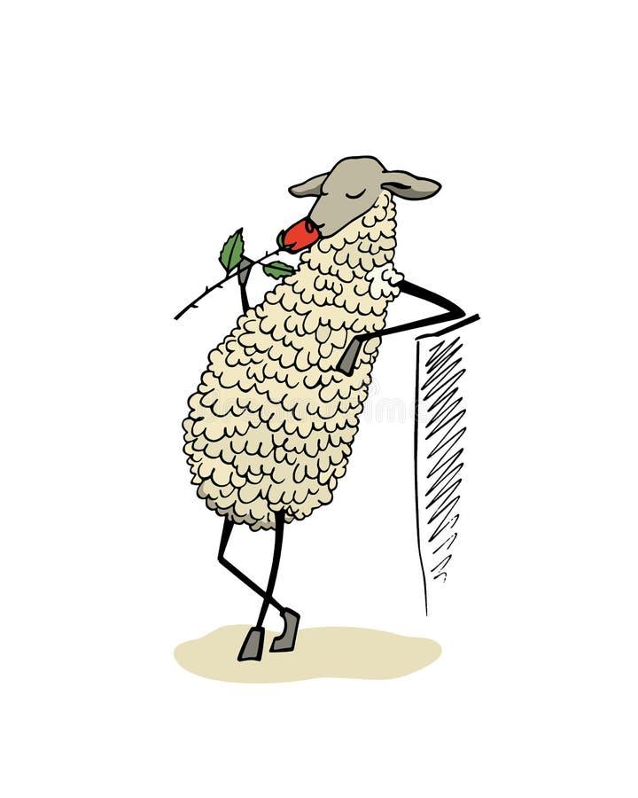 Hand gezeichneter Schafcharakter lizenzfreie abbildung