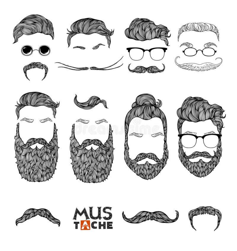 Hand gezeichneter Schnurrbart-Bart und Frisuren-Satz hippie stock abbildung