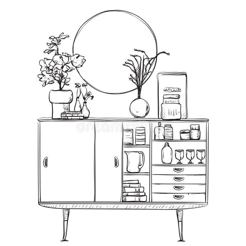 Schrank gezeichnet  Hand Gezeichneter Schrank Mit Tellern Möbel Vektor Abbildung ...