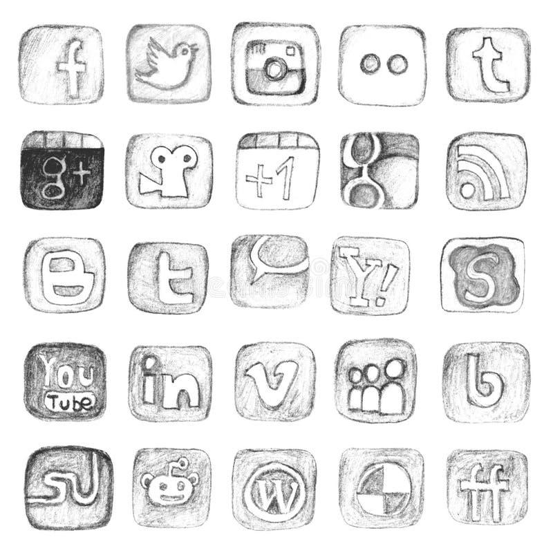 Hand gezeichneter Social Media-Ikonensatz vektor abbildung