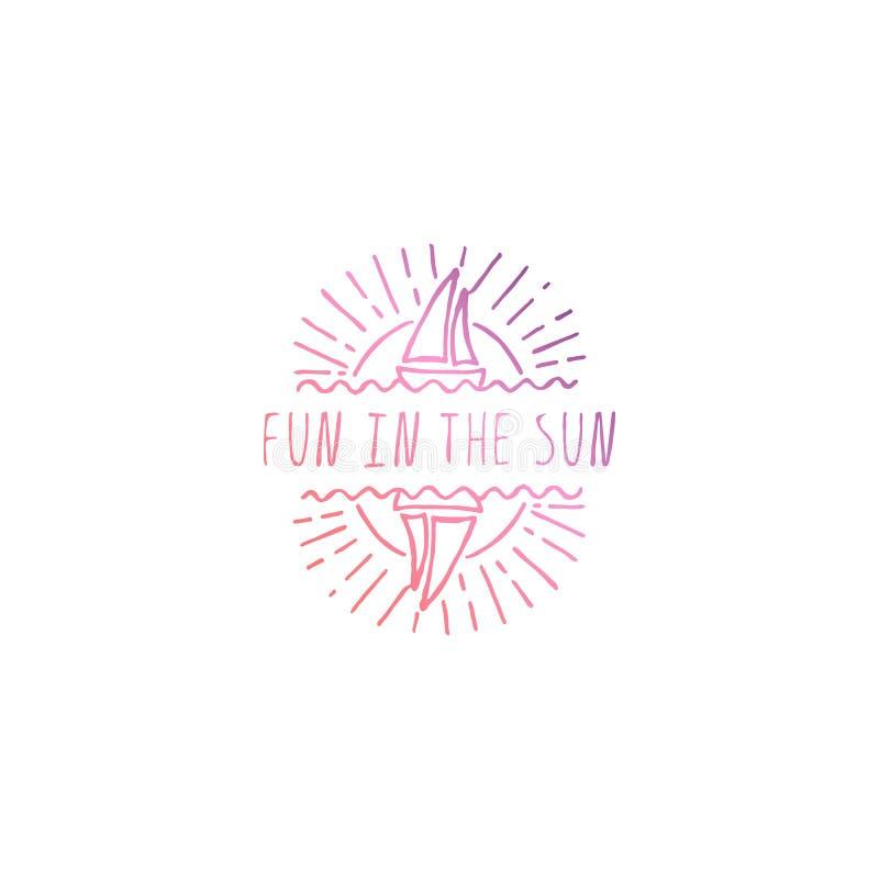 Hand gezeichneter Sommer-Slogan lokalisiert auf Weiß Spaß im Sun lizenzfreie abbildung