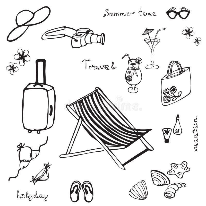Hand gezeichneter Sommerstrandsatz stock abbildung