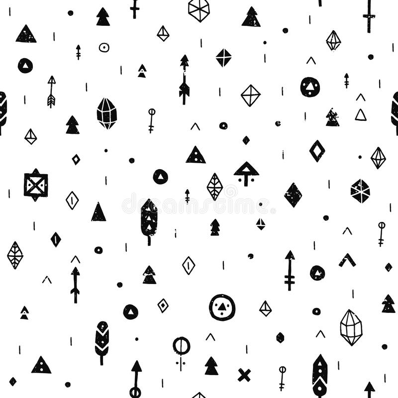 Hand gezeichneter Stammes- Hintergrund lizenzfreie abbildung