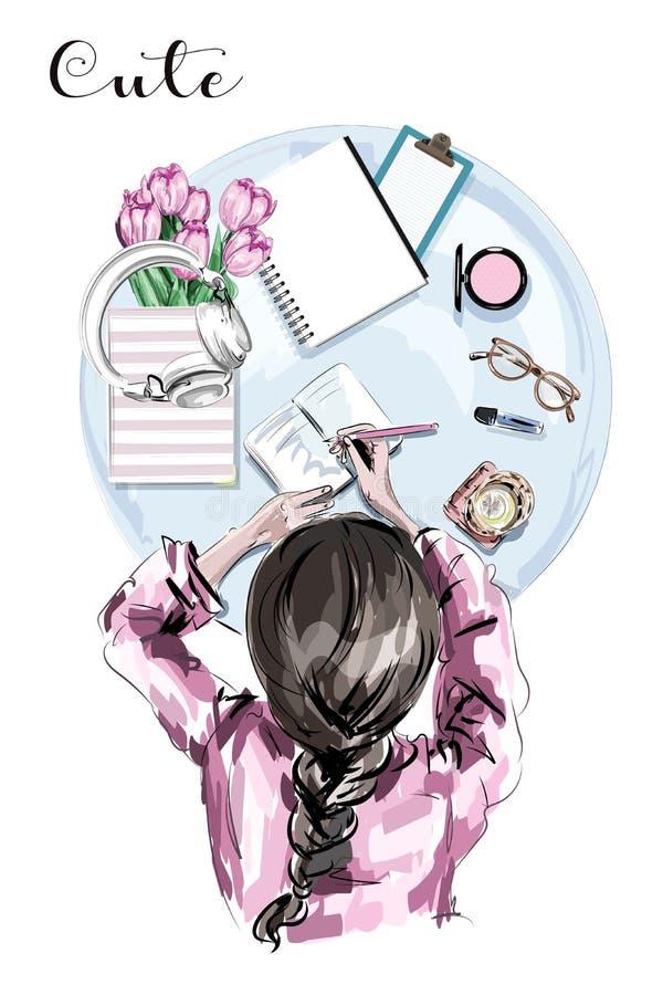 Hand gezeichneter stilvoller Satz mit Tischplatteansicht Frau, die bei Tisch zeichnet Netter Satz mit Blumen, Papiere, Glas, Stif vektor abbildung
