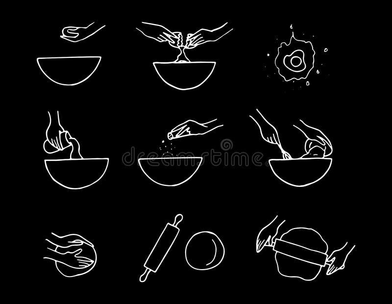 Hand gezeichneter Teigvorbereitungsprozeß stock abbildung