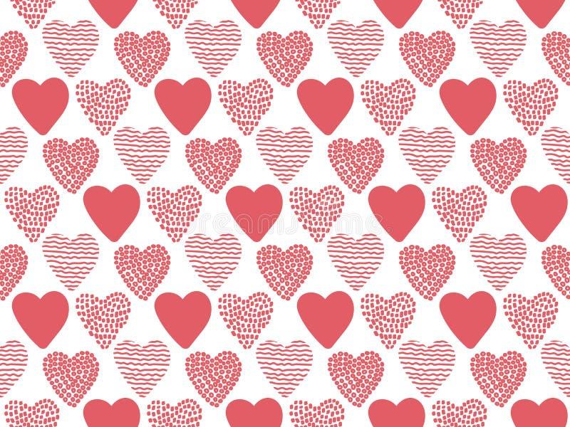 Hand gezeichneter Valentine Hearts Seamless Pattern stock abbildung