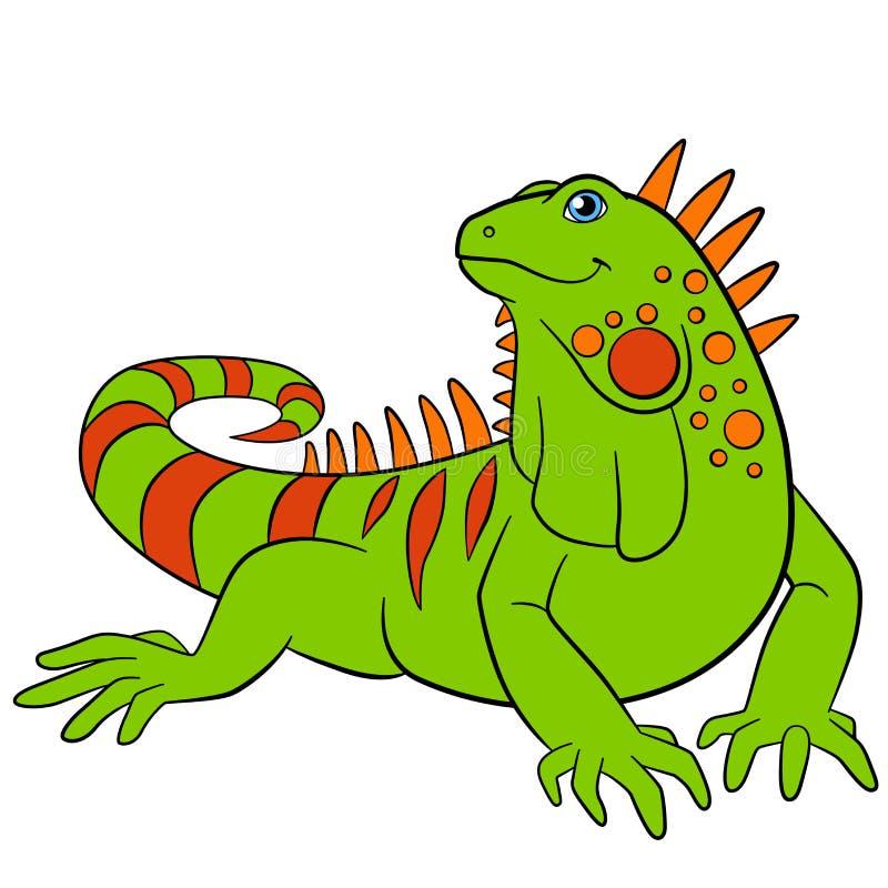Hand gezeichneter Vektor getrennt auf Weiß Nettes grünes Leguanlächeln lizenzfreie abbildung