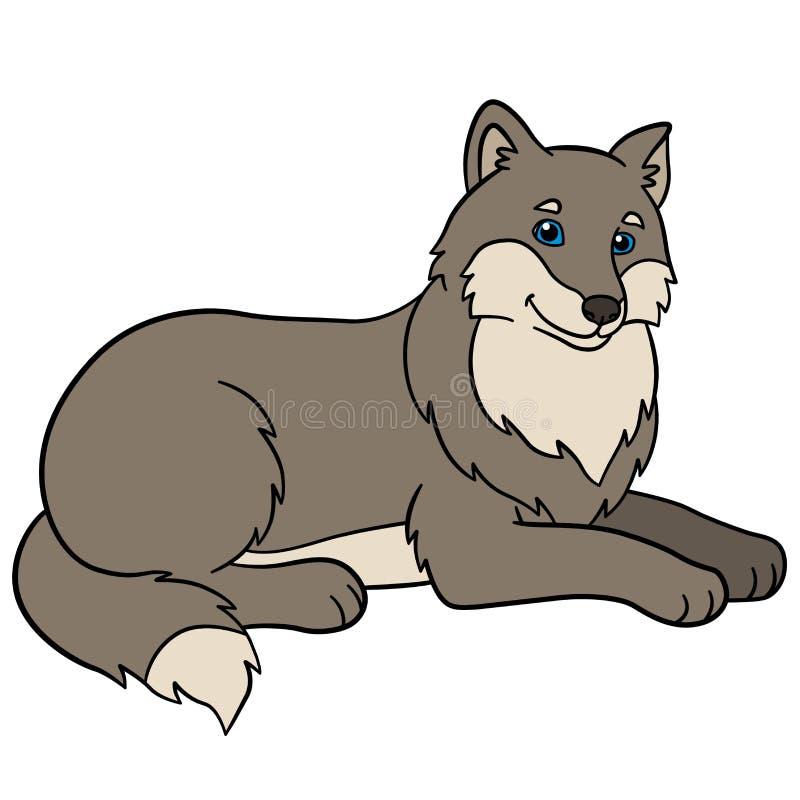 Hand gezeichneter Vektor getrennt auf Weiß Wenig nettes Wolflächeln lizenzfreie abbildung