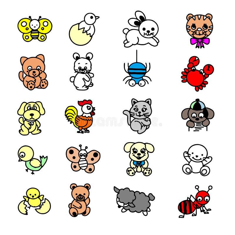 Hand gezeichneter Vektor getrennt auf Wei? Netter Elefant und L?we, Giraffe und Krokodil, Kuh und Huhn, Hund und Katze lizenzfreie abbildung