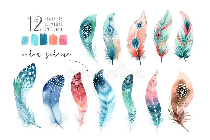 Hand gezeichneter vibrierender Federsatz der Aquarellmalereien Boho-Art vektor abbildung