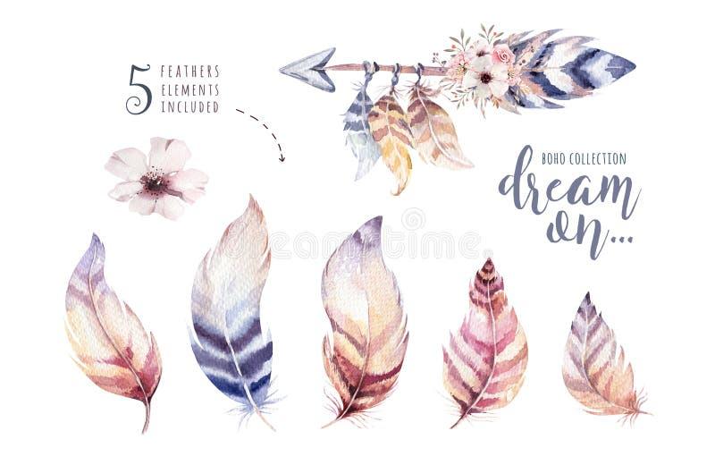 Hand gezeichneter vibrierender Federsatz der Aquarellmalereien Boho-Artflügel Abbildung getrennt auf Weiß Vogelfliegendesign lizenzfreie abbildung