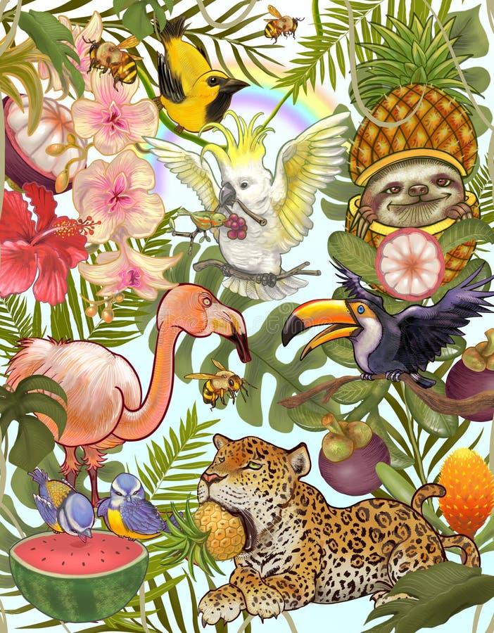 Hand gezeichneter Wald und Tier lizenzfreie abbildung