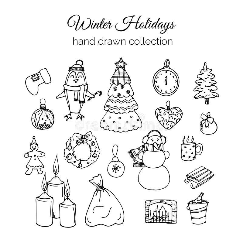 Hand gezeichneter Weihnachtselement-Satz Der Junge gelegt auf den Schnee lizenzfreie abbildung