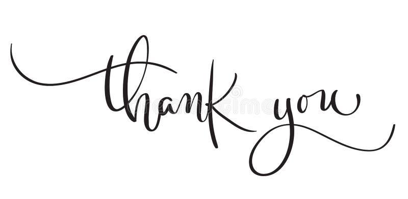 Hand gezeichneter Weinlese Vektortext danken Ihnen auf weißem Hintergrund Kalligraphiebeschriftungsillustration EPS10 stock abbildung