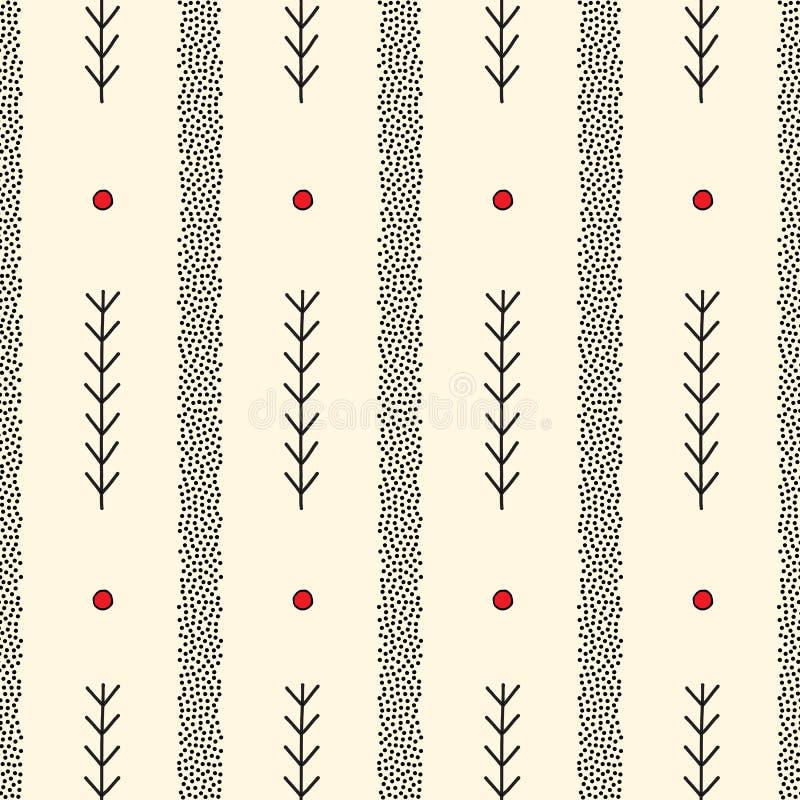 Hand gezeichnetes abstraktes nahtloses Muster Streifen und stilvoller minimalistic Hintergrund der Niederlassungen Elegante punkt lizenzfreie abbildung