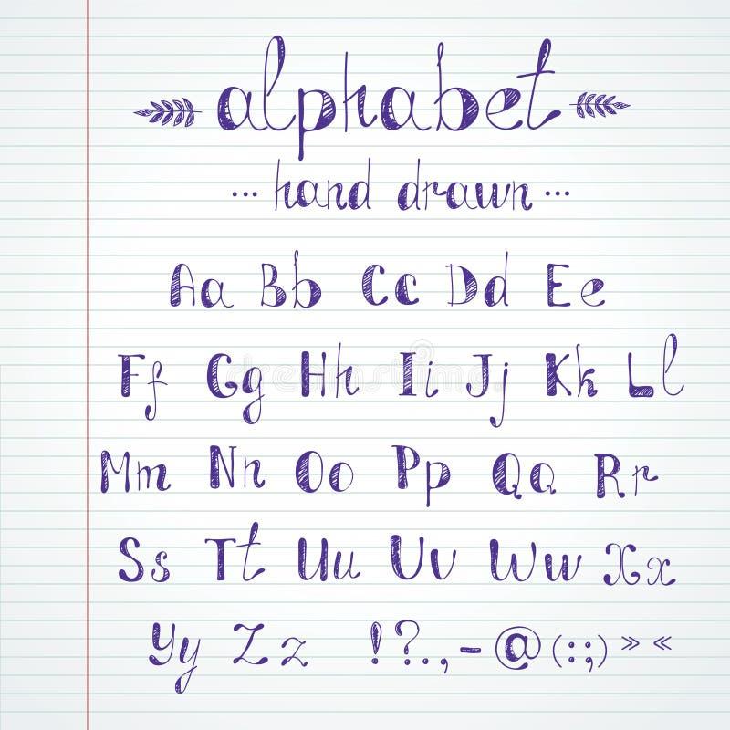 Hand gezeichnetes Alphabet lizenzfreie abbildung