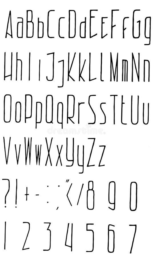 Hand gezeichnetes Alphabet f?r Ihr Design Vektor vektor abbildung