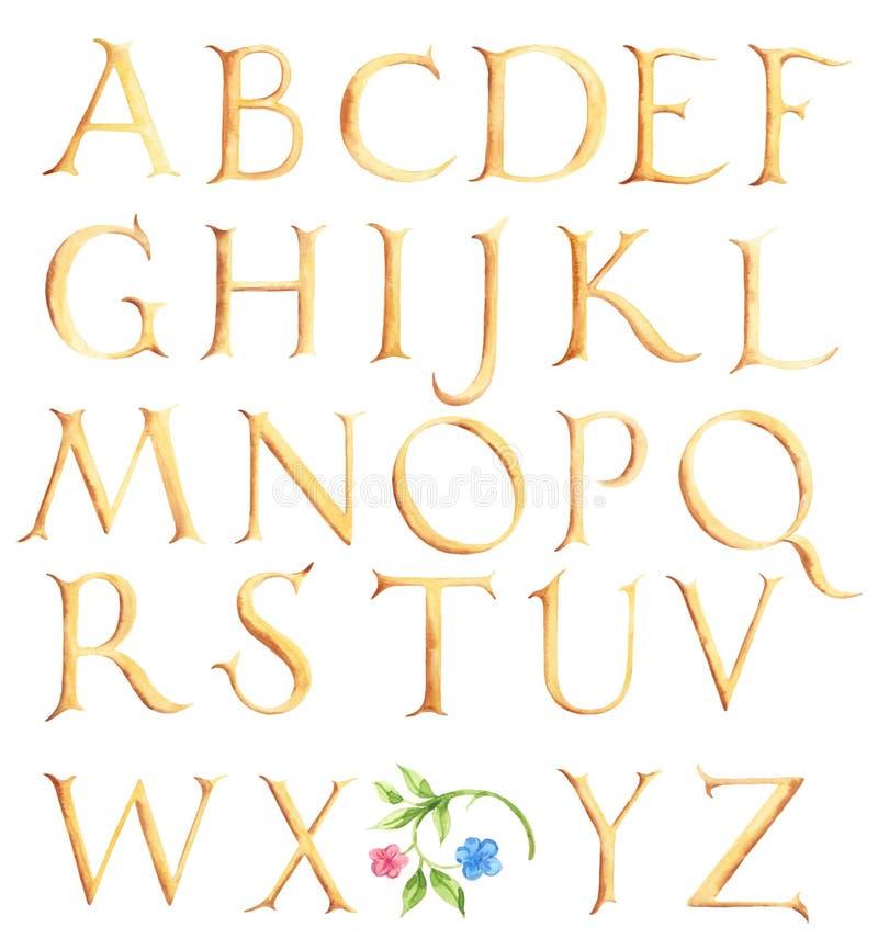 Hand gezeichnetes Aquarellalphabet Weinlesegoldgroßbuchstaben vektor abbildung