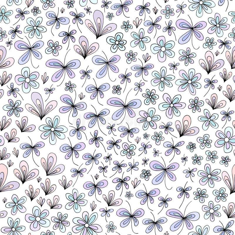Hand gezeichnetes Blumenmuster der abstrakten Natur Vektor stilisierter nahtloser Hintergrund des Feldes Bunte Pastellfarbbeschaf vektor abbildung