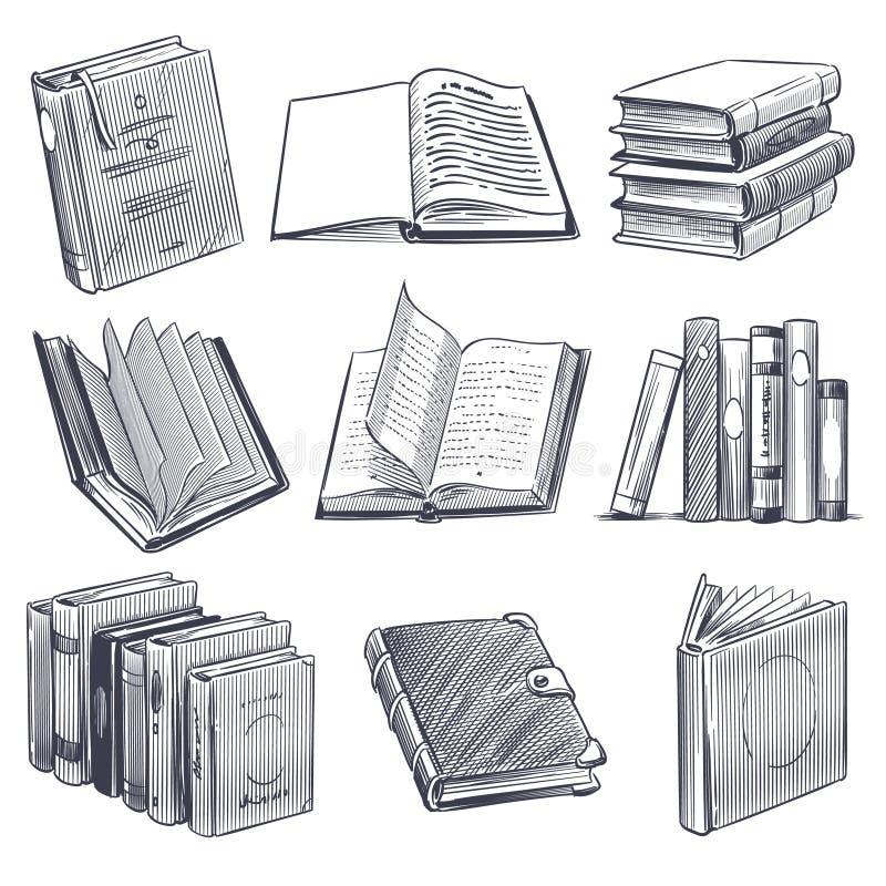 Hand gezeichnetes Buch Retro- Skizze, die einfarbige Notizbücher graviert Bibliotheks- und Buchhandlungselemente, Stapel des Vekt lizenzfreie abbildung