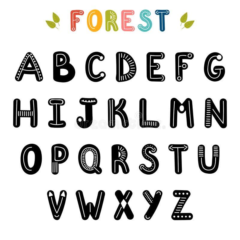 Hand gezeichnetes englisches Alphabet Nette Buchstaben mit Dekorationselementen schriftkegel stock abbildung