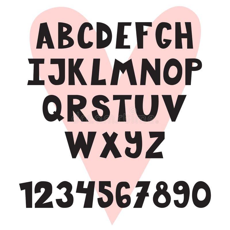 Hand gezeichnetes englisches Alphabet Nette Buchstaben und Zahlen schriftkegel lizenzfreie abbildung