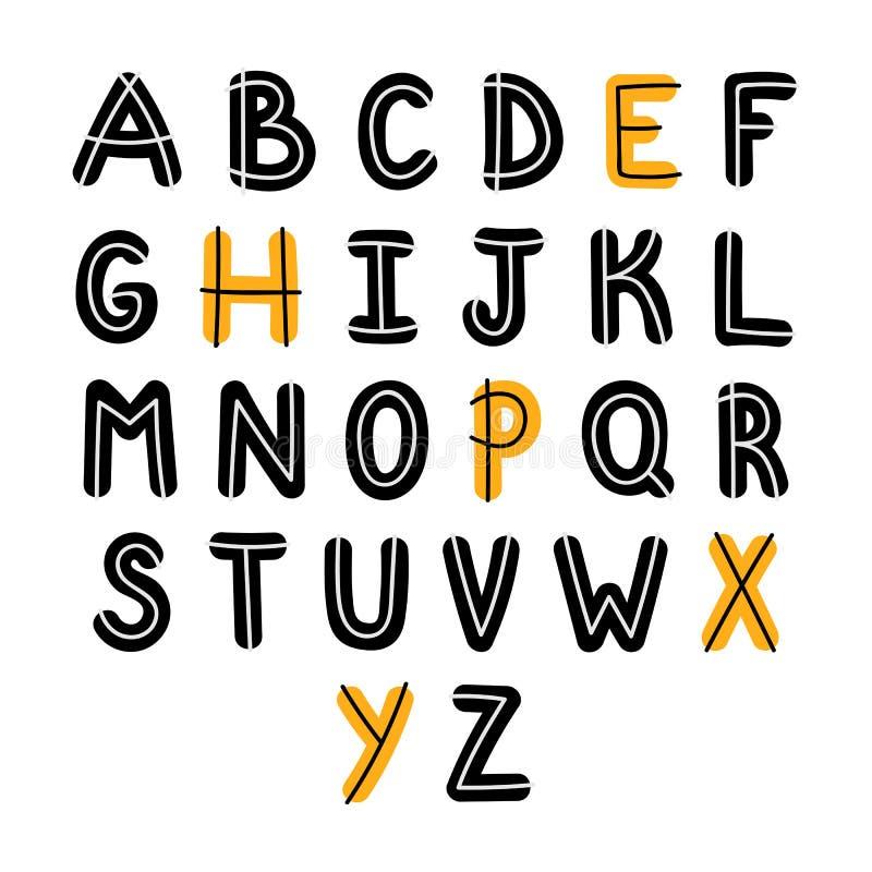 Hand gezeichnetes englisches Alphabet schriftkegel Nette Buchstaben mit Dekorationselementen lizenzfreie abbildung