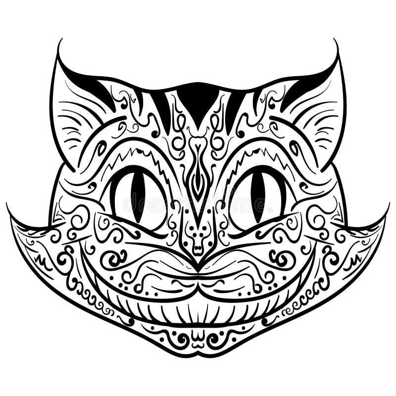 Hand gezeichnetes Entwurfsgekritzelkatzen-Kopf zentangle vektor abbildung